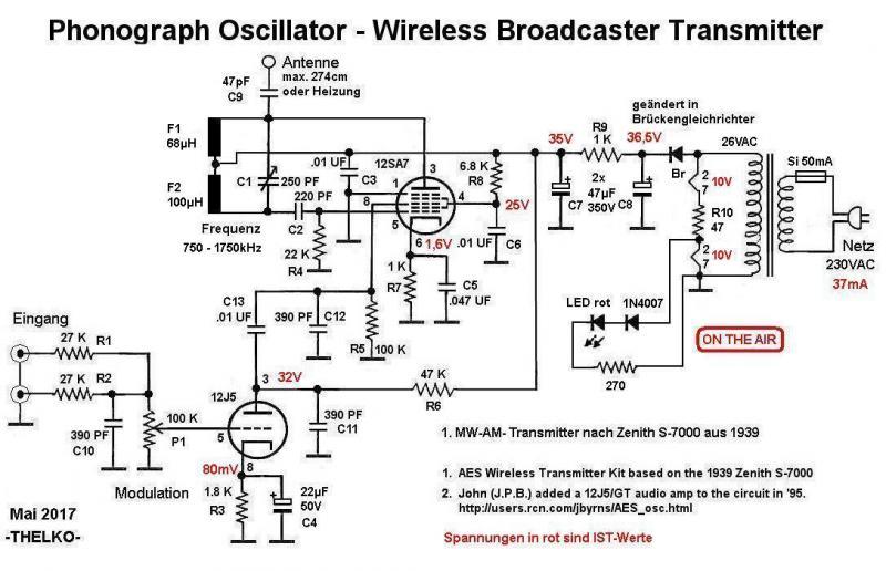 Phonograph Oscillator - Wireless Broadcaster Transmitter